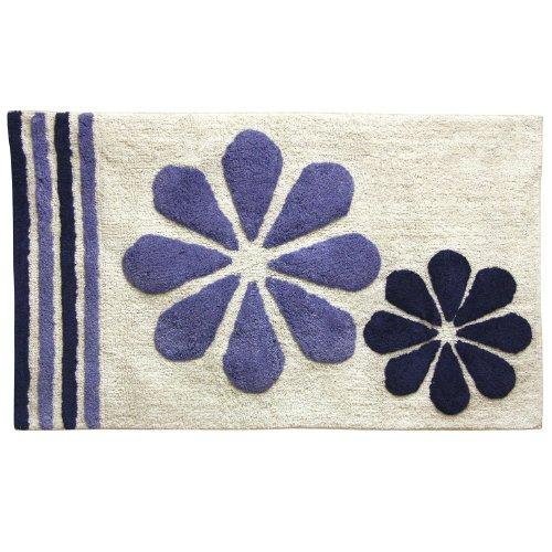 Bacova Guild Fleur Duo Cotton Fashion Bath Rug with Chevron Border and Flowers, 20 by 32-Inch, Navy/Blue Bath Duo