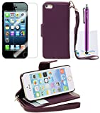 The Friendly Swede Basics – iPhone 5 5s PU Leather Stand Wallet Case Cover + Matching Stylus + Screen Protector + Cleaning Cloth (Purple) by Leather Factory Outlet