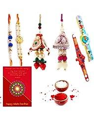 Ethnic Rakhi Designer Floral Pattern Multi-Color Fashionable And Stylish Mauli Thread And Beads Rakhi Set Of 6... - B01IIMB8BG