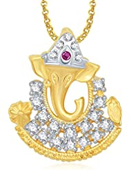 Ganpati God Pendant With Chain Lockets For Men And Women Gold Plated In American Diamond Cz GP331