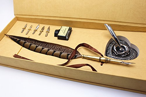 Calligraphy Set - Antique Copper Feather Pen Metal Nib Pen Writing Quill 1
