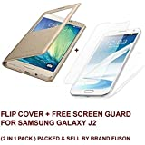 BRAND FUSON Durable Premium GOLD LEATHER CALLER ID Flip Case Cover + Free Sreen Guard For Samsung Galaxy J2 GOLD...