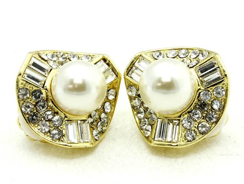 EARRING CLIP ON CRYSTAL STONE CREAM Fashion Jewelry Costume Jewelry fashion accessory Beautiful Charms