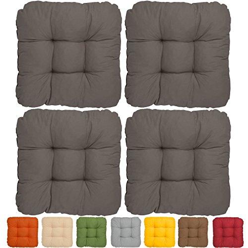 4er-Set-Bequemes-Stuhlkissen-Lisa-40x40x8-cm-Anthrazit-Besonders-stark-gepolstertes-weiches-Sitzkissen