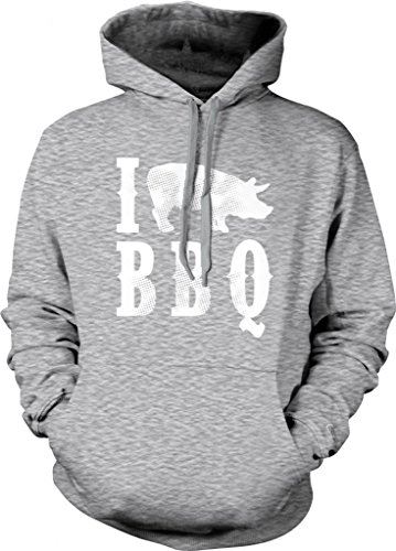 I Love BBQ Hooded Sweatshirt, Funny Bar-B-Que I Pig BBQ Design Design Hoodie (Light Gray, X-Large)