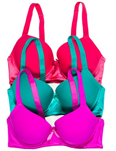 Bella Intimates 3 Pack Juniors Plus Size Full Coverage Bra (38Dd, Red Coral/Turquoise/Current)