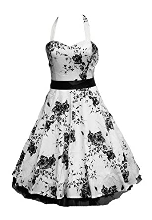 50 s Floral Dress Halterneck White   Black or Black   White  Amazon co uk  Clothing from amazon.co.uk