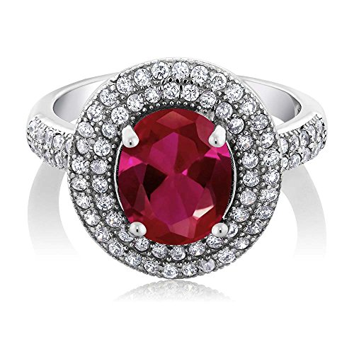 Sterling Silver Red Created Ruby Women's Ring (3.70 cttw, Center Stone: 10X8MM, Available in size 5, 6, 7, 8, 9)
