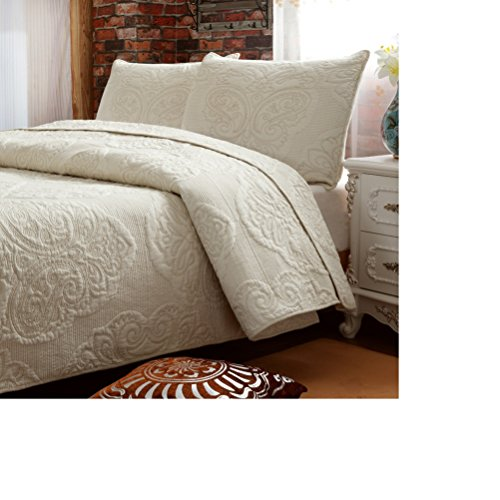 Brandream White Beige Vintage Floral Comforter Set Queen Size Bed Quilt Set (Queen Size Comforters And Quilts compare prices)