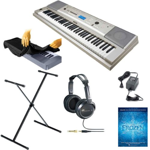 Yamaha Ypg-235 76-Key Portable Grand Graded-Action Usb Keyboard Kit With X-Style Stand, Power Adapter, Full Size Stereo Headphones, Frozen Music Book, And Keyboard Dust Cover