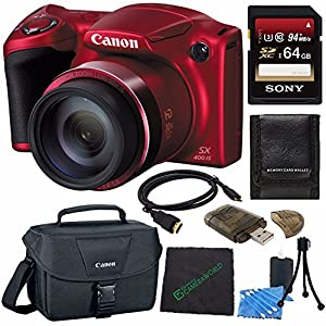 """Canon PowerShot SX400 IS Digital Camera (Red) + Sony 64GB SDXC Card + Spacious Carrying Case + 6"""" HDMI to Mini HDMI Cable + Card Reader + Microfiber Cleaning Cloth Bundle"""