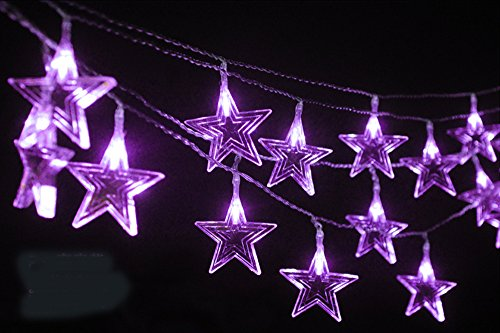 Gorgeouseve Battery Operated 4M 40-Count Colorfur 6 Cm Stars Led (Purple) Light String Beautiful Christmas Tree Lights Xmas Holiday Decoration National Day