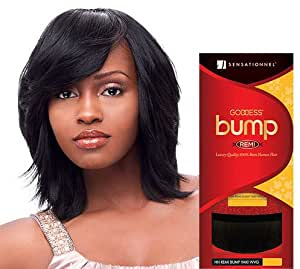 "Goddess Remi Human Hair Weave Sensationnel Bump Yaki 8"" Color 1B Off Black"
