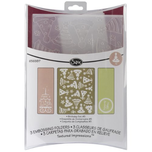 Sizzix Textured Impressions Embossing Folders 3Pk - Birthday Set #5 By Rachael Bright