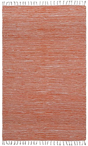 Complex Chenille Flat Weave Rug, 9-Feet by 12-Feet, Orange