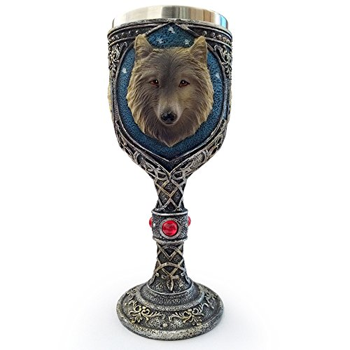 Deli 150ml Creative Cool 3D Wolf Head Wine Goblet, Resin Stainless Steel Coffee Cup, Double Wall Drinking Mug Heat Insulated Drinkware Novelty Gifts Funny Copo (Wolf Head)
