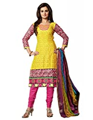 Yellow Cotton Resham With Patch Patti Dress Material