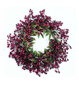 "20"" Festive Red Berry and Holly Leaves Artificial Christmas Wreath - Unlit by DAK"