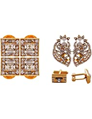 Izaan Sales Combined Gold Non-Precious Metal Stud Combo Of Cufflinks, Brooch And Kurta Buttons Set For Unisex...