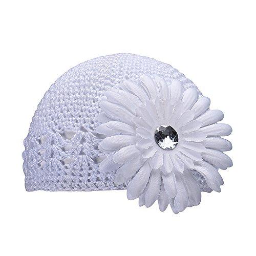 Baby Hat,Leegor Girl's Knitting Wool Flower Hats Kids Winter Autumn Warm Cap (White) Crochet Baby Booties Free