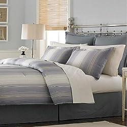 "Martha Stewart Collection ""Ombre Pinstripe"" 6-Piece Comforter Set, Full"