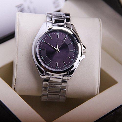 Muchbuy Simple Elegant Steel Men'S Quartz Wrist Watch Stainless Band Watch Clock-Purple