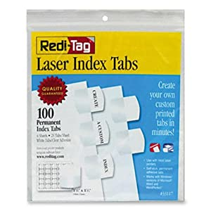Redi-Tag Printable Laser Index Tabs, 1.125 Inches, White, 100 per Pack (33117)