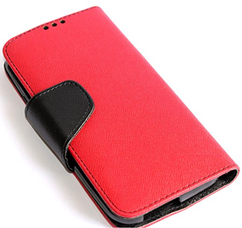 Mylife (Tm) Folly Red + Black {Modern Design} Faux Leather (Card, Cash And Id Holder + Magnetic Closing) Slim Wallet For The All-New Htc One M8 Android Smartphone - Aka, 2Nd Gen Htc One (External Textured Synthetic Leather With Magnetic Clip + Internal Se