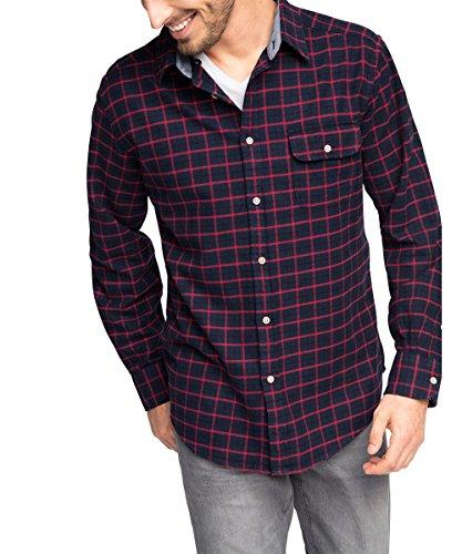 ESPRIT Kariert-Camicia Uomo,    Rot (DARK RED 610) Small (taglia del produttore: S)