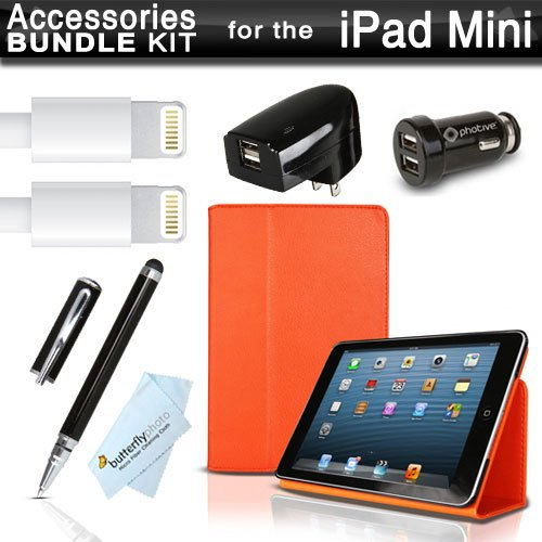 New Ipad Mini Case And Charger Accessories Bundle Includes Smart Cover Folio Snap Case - Orange - W/Built In Stand Sleep Wake Feature + 2Pk 3Ft. 8 Pin Lightning Usb Data / Sync Charge Cable + 2.0 Amp Dual Usb Rapid Home And Car Charger + More