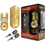 SimpliciKey SRCED-PB-2 Remote Control Electronic Deadbolt Door Lock, Polished Brass
