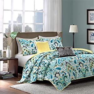 Madison Park Caprice 5 Piece Coverlet Set - Blue - Full/Queen