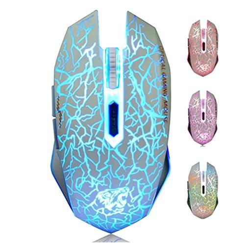 Wireless Mouse,ShiRui L6 2,4GHz wieder aufladbare, drahtlose Gaming Maus mit 3 einstellbare DPI-Stufen (2400/1600/800 DPI), 7 farbige pulsierende LED-Beleuchtung und 8 geräuschlosen Tasten (Weiss)