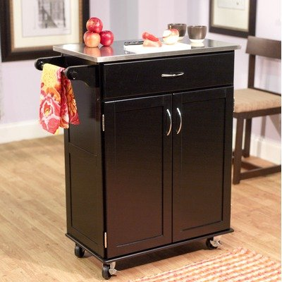 Kitchen Cart with Stainless Steel Top in Black