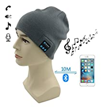buy Bluetooth Hat 007Plus® Wireless Bluetooth Knit Hat Music Cap Hands-Free Phone Call Answer Ears-Free Beanie Hat-Gray