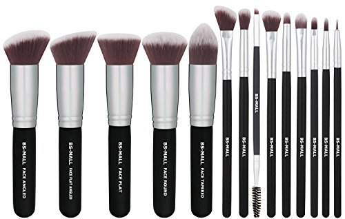 BS-MALL(TM) Makeup Brushes Premium 14 Pcs Synthetic Foundation Powder Concealers Eye Shadows Silver Black Makeup Brush Sets(Silver Black) (Silver Makeup Brush Set compare prices)