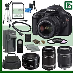 Canon EOS Rebel T3 Digital SLR Camera Kit with 18-55mm IS II Lens and Canon 55-250mm Lens and Canon 50mm f/1.8 Lens and Canon 18-135mm Lens + 16GB Green's Camera Package 2