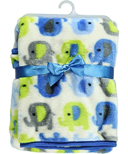 "Baby Gear ""Elephant March"" Blanket - blue/lime, one size - 1"