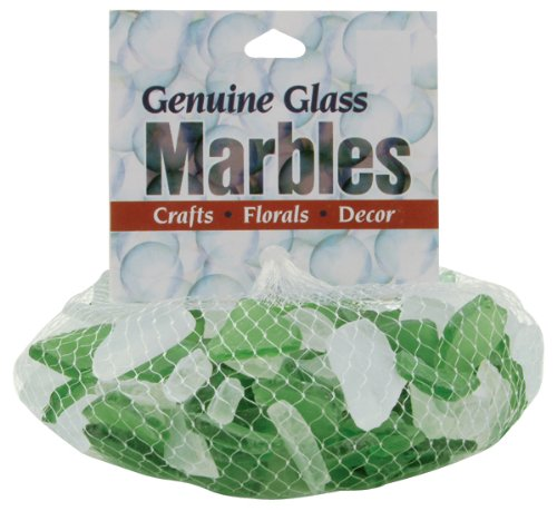 Decorative Accent Glass 1lb Mesh Bag-Green/Frost
