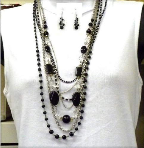 Black Onyx Necklace Set - 017