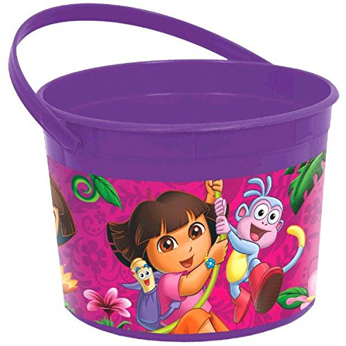 Amscan Colorful Dora's Flower Adventure Plastic Favor Container (1 Piece), Purple/Pink, 4 1/2 x 6 1/4""