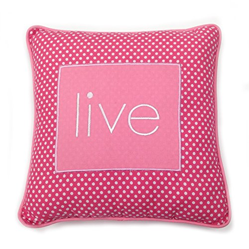 One Grace Place Simplicity Hot Pink Decorative Pillow Live, Hot Pink and White - 1