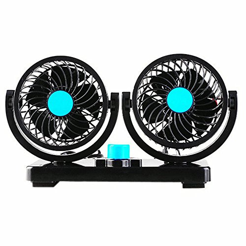EXCOUP 12V Cooling Air Fan with Dual Heads and 360 Degree Rotation Adjustable Design Powerful Electric Fan with 2 Rotatable Speed Fits for Truck Car (Mobile Fan 12 compare prices)