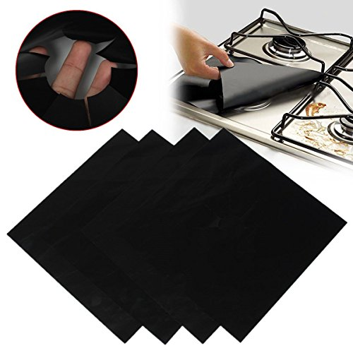 KINGSO 4pcs Reusable Black Foil Gas Range Hob Stovetop Nonstick Protector Liner (Gas Stove Top Burners compare prices)