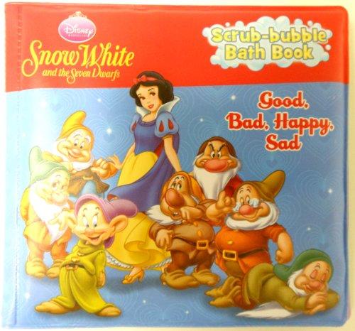 "Disney Snow White and the seven Dwarfs Bath Time Scrub Bubble Book ""Good, Bad, Happy, Sad"" Bath Book - 1"