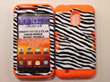 Heavy duty double impact hybrid Cover case black & white leather finish zebra hard snap on over orange soft silicone for SAMSUNG S2 Galaxy EPIC 4G TOUCH D710 R760 for SPRINT/BOOST MOBILE/VIRGIN MOBILE/US CELLULAR