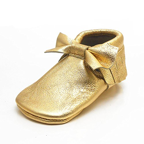 Sayoyo Baby Gold Bow Tassels Soft Sole Leather Infant