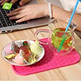 KARP Square Shape Silica Gel Anti Hot Heat Resistant Pot Holder Disc Pads Car Dashboard Anti-Slip-resistant Pad Dining Table Mat Placemat Coasters - Pink Color