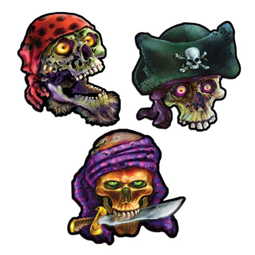 Pirate Skull Cutouts   (3/Pkg) - 1