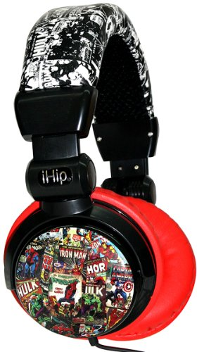 Ihip Mvf10264Rt-New Marvel Retro Extreme Dj Headphone, Red/Black